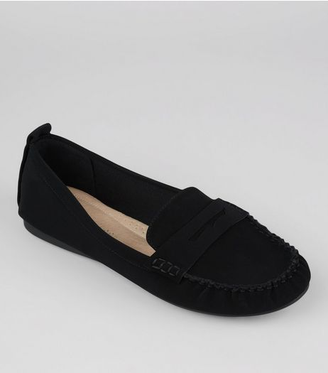 Wide Fit Black Suedette Comfort Loafers  | New Look
