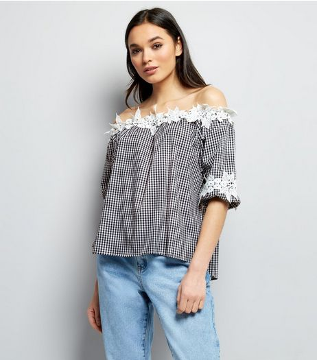 QED Black Gingham Lace Trim Bardot Top | New Look