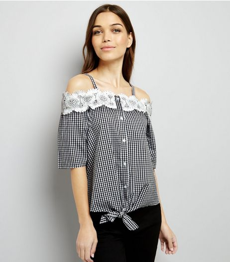 QED Black Gingham Check Bardot Neck Lace Trim Top  | New Look