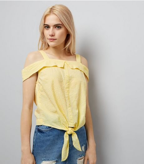 Yellow Stripe Seersucker Cold Shoulder Top | New Look