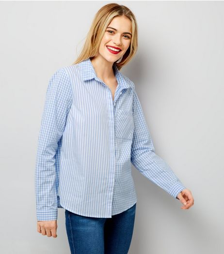 Blue Stripe and Gingham Print Shirt | New Look