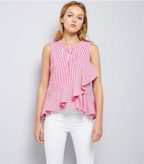 Pink Gingham Check Frill Trim Top | New Look