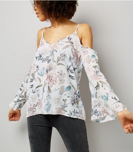 White Floral Print Cold Shoulder Flared Sleeve Top | New Look