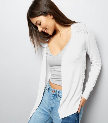 QED Cream Daisy Lace Back Cardigan | New Look