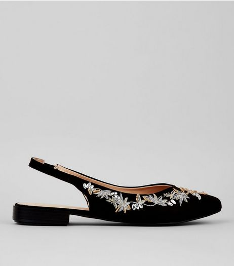 Black Suedette Embellished Sling Back Pointed Pumps | New Look