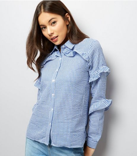QED Blue Gingham Frill Sleeve Shirt | New Look