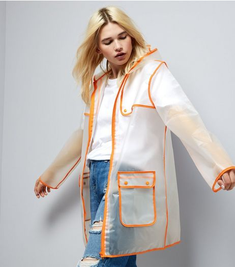 Parisian Orange Piped Trim Clear Rain Mac | New Look