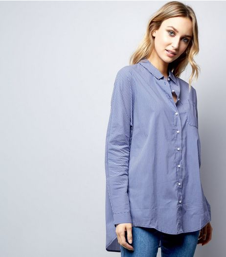 QED Blue Stripe Batwing Shirt | New Look