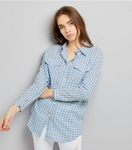 QED Blue Gingham Check Print Long Sleeve Shirt  | New Look