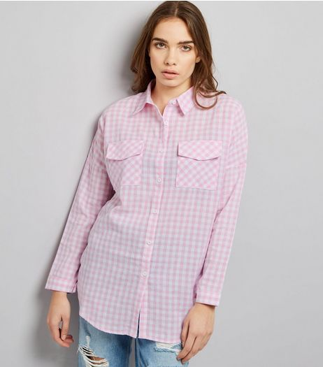 QED Pink Gingham Check Long Sleeve Shirt  | New Look
