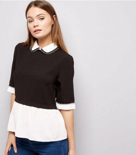 Blue Vanilla Black 2 in 1 Collared Top  | New Look