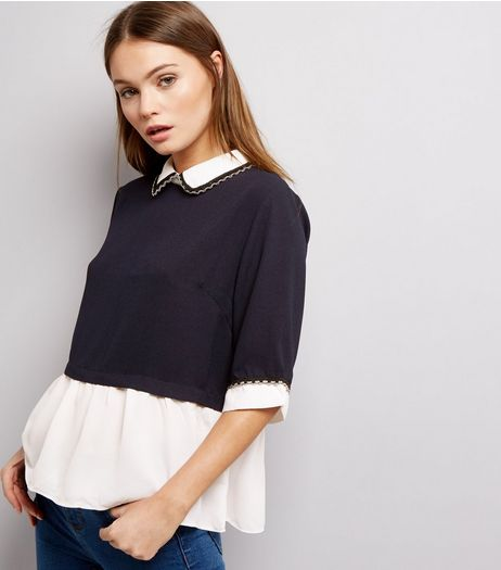 Blue Vanilla Navy 2 in 1 Collared Top  | New Look