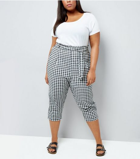 Curves Black Gingham Tie Waist Cropped Trousers  | New Look