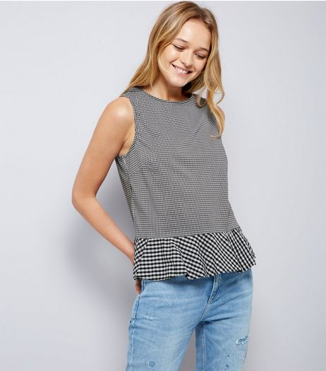 Black Gingham Check Peplum Hem Top  | New Look