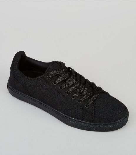 Black Glitter Trainers | New Look