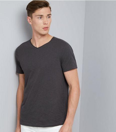 Grey Raw Edge V Neck T-Shirt | New Look