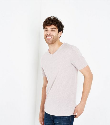 Pink Marl Raw Edge V Neck T-Shirt | New Look