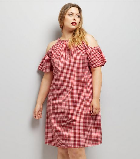 Curves Red Gingham Cold Shoulder Dress | New Look