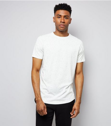 White Marl Short Raglan Sleeve T-Shirt | New Look