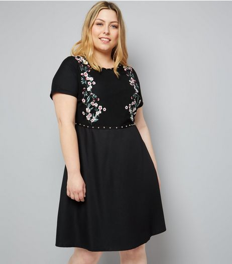 Curves Black Floral Embroidered Studded Mini Dress | New Look