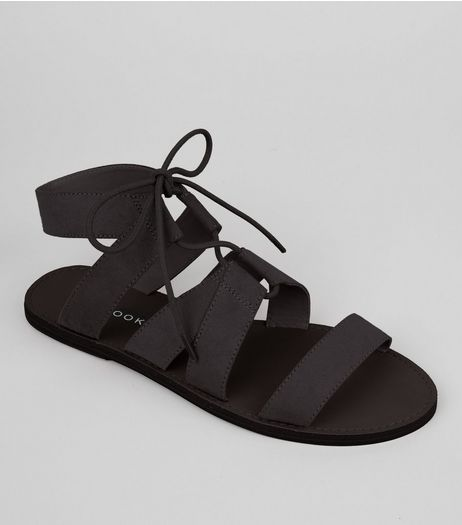 Black Suedette Lace Up Sandals | New Look
