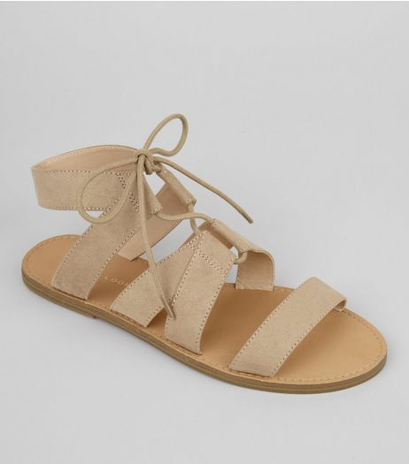 Mink Suedette Lace Up Sandals | New Look