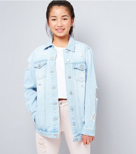 Teens Pale Blue Ripped Denim Jacket  | New Look