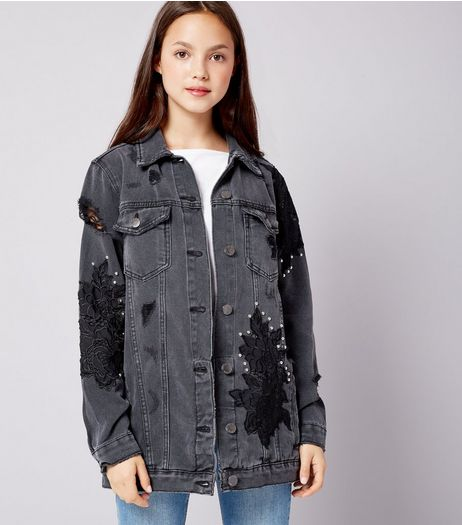 Teens Black Floral Applique Studded Denim Jacket | New Look