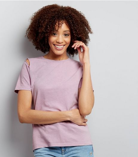 Lilac Cut Out Short Sleeve Top  | New Look