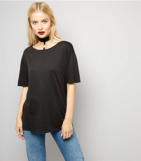 Dark Grey Ring Trim Choker Neck T-Shirt  | New Look