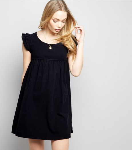 Blue Vanilla Navy Cord Frill Trim Smock Dress  | New Look