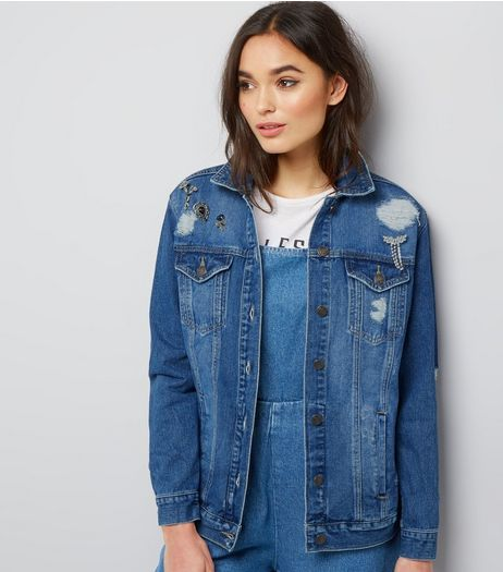 Blue Crystal Brooch Denim Jacket | New Look