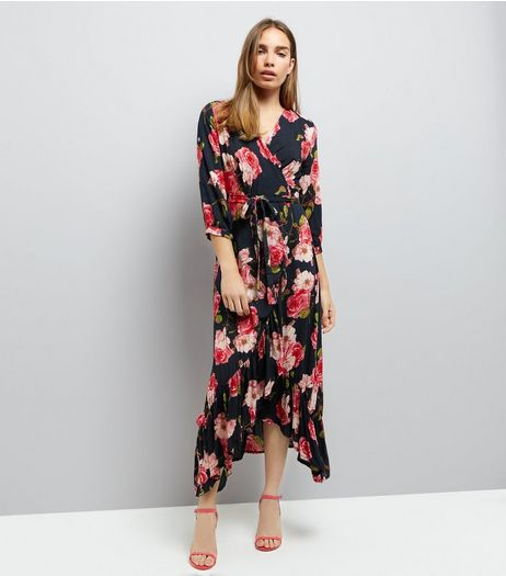 Blue Vanilla Red Rose Print Wrap Front Dress | New Look