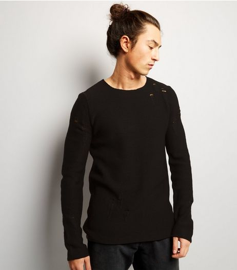 Black Laddered Crew Neck Jumper | New Look