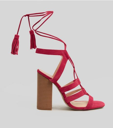Pink Suede Tassel Back Ghillie Heels | New Look