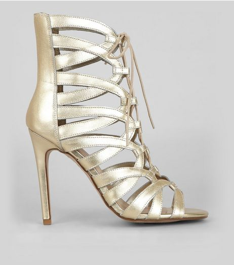 Gold Leather High Ankle Ghillie Heels | New Look