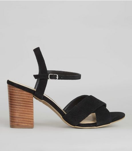 Black Suede Cross Strap Front Heeled Sandals | New Look