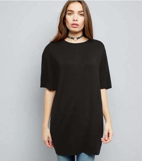 Black Longline T-Shirt | New Look