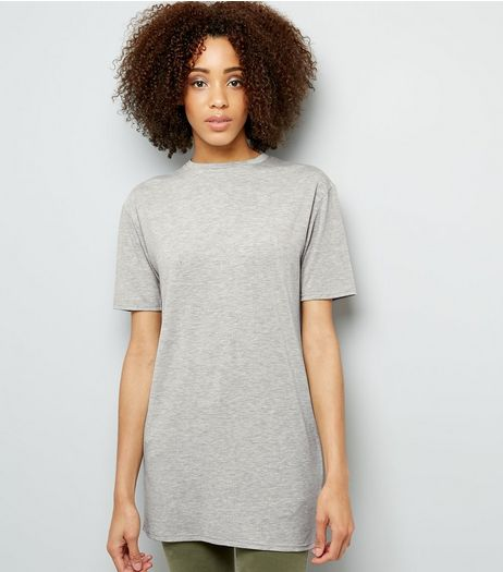 Mid Grey Longline Tunic T-Shirt  | New Look