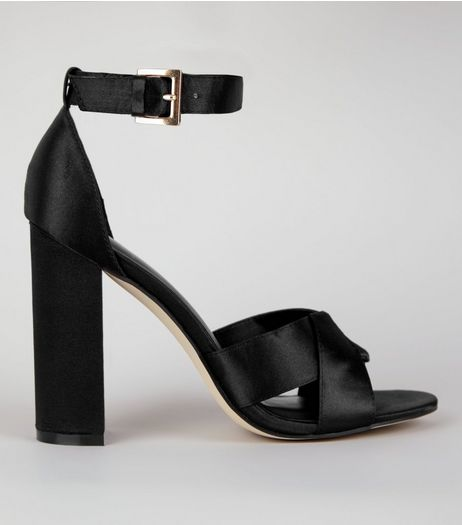 Black Satin Cross Strap Block Heels | New Look