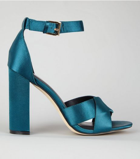 Teal Satin Cross Strap Block Heels | New Look