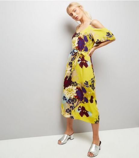 Tall Yellow Floral Cold Shoulder Midi Dress | New Look