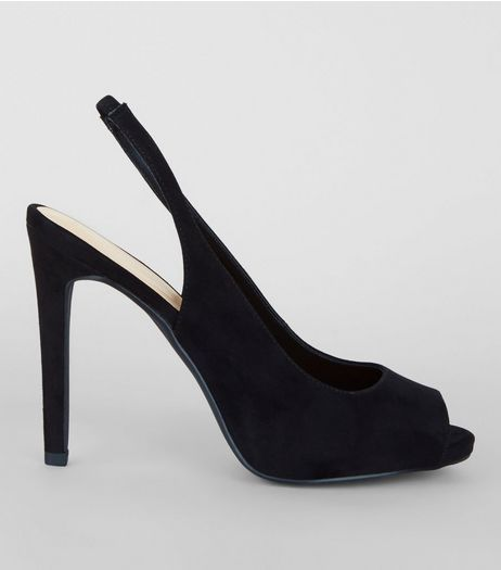 Black Suedette Sling Back Peep Toe Heels | New Look