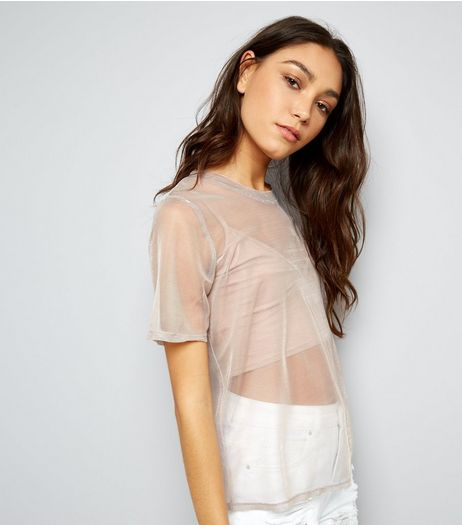 Tall Mid Pink Metallic Mesh T-Shirt | New Look
