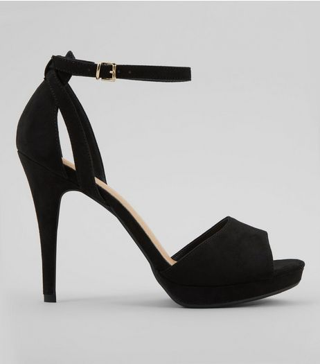 Black Comfort Satin Platform Heels | New Look