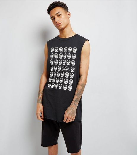 Black Hoax Skull Print Longline Drop Arm Vest | New Look