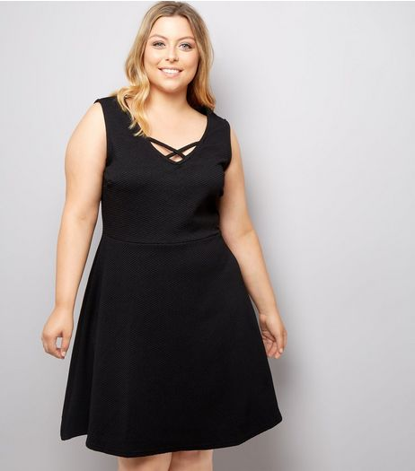 Curves Black Lattice Front Skater Dress  | New Look