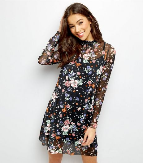 QED Black Mesh Floral Print 2 in 1 Tunic Dress | New Look