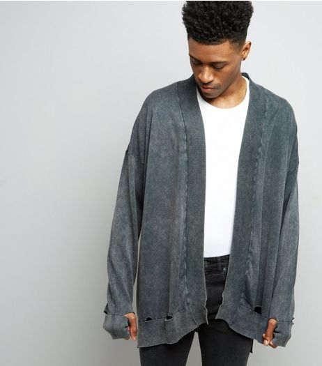 Dark Grey Stonewash Oversized Cardigan | New Look