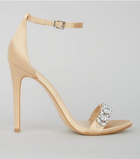 Gold Satin Crystal Embellished Sandals  | New Look